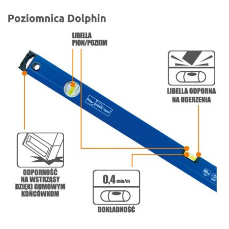 Blue Dolphin vízmérték gumírozott véggel 120 cm
