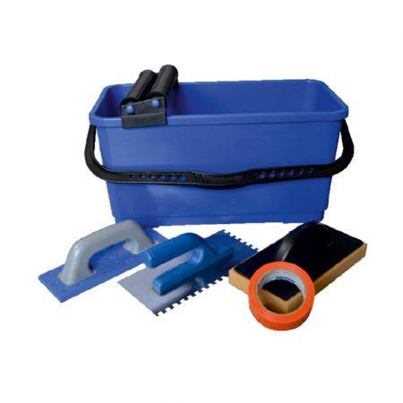 Blue Dolphin fugázó szett ( A szett tartalma 20 literes vödör,ráccsal görgővel,fogazott glettva,fugalehúzó gumi,fugázó szivacs)